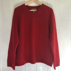 Vntg Abercrombie & Fitch Wool V-Neck Sweater M Red